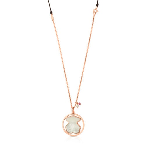 Rose Vermeil Silver Camille Necklace with Mother-of-Pearl, Garnets and Pearl