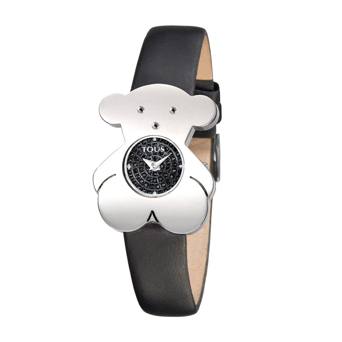 Reloj Tousy de acero con diamantes y correa de raso negra
