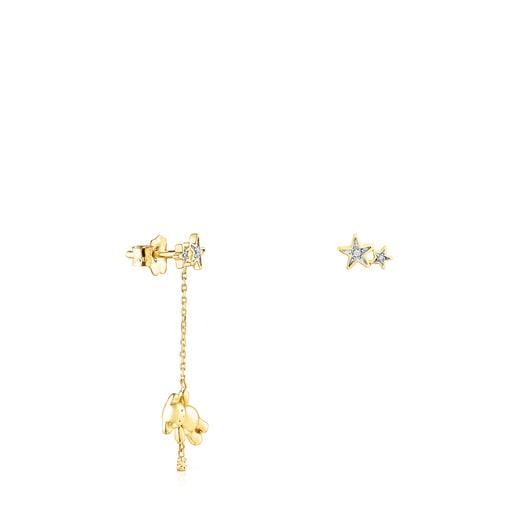 Aretes corto/largo Teddy Bear Stars de Oro y Diamantes