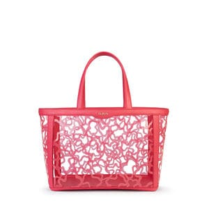 Medium coral colored Vinyl Kaos Shock Tote bag
