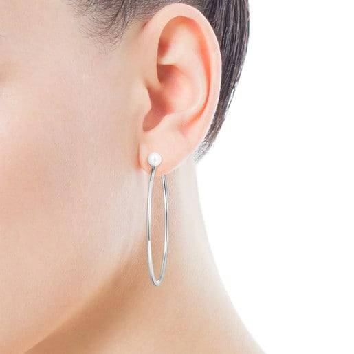 Pendientes aro grandes TOUS Basics de plata con perla