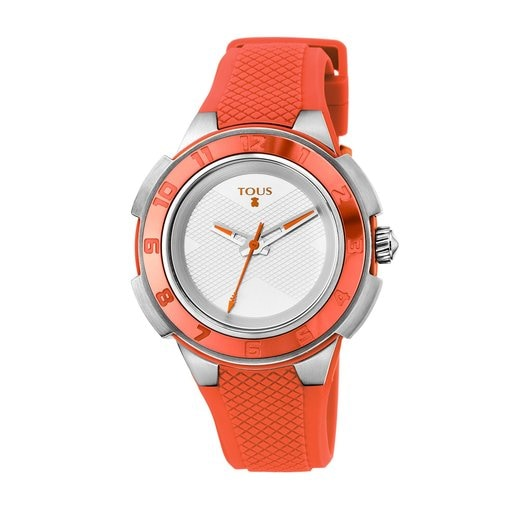 Two-tone Steel/coral anodized Aluminum Xtous Colors Watch with coral Silicone strap