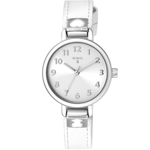 Steel Dream Watch with white leather strap