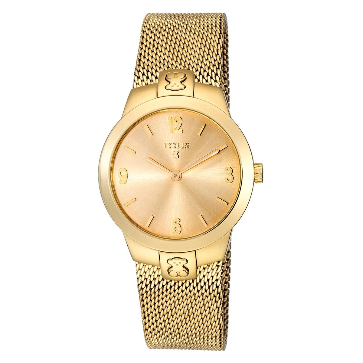 Gold IP Steel T-Mesh Watch