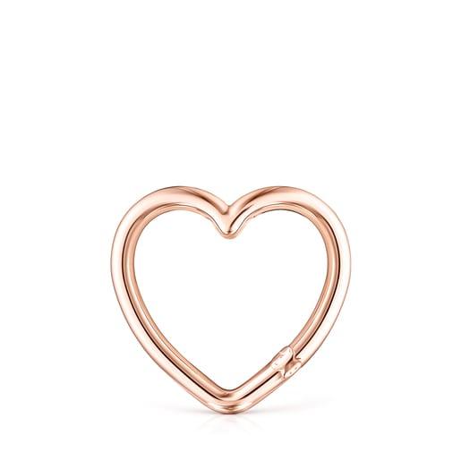 Anilla grande Hold corazón de Plata Vermeil rosa