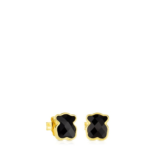 Vermeil Silver TOUS Color Earrings with faceted onyx
