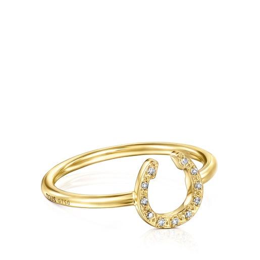 Anillo TOUS Good Vibes de Oro y Diamantes forma Herradura