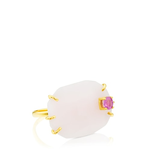 Gold Ethereal Ring with Opal and Ruby
