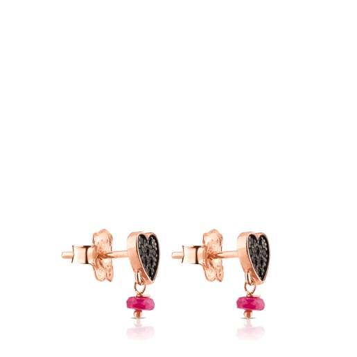 Rose Vermeil Silver Motif Earrings with Spinel and Ruby