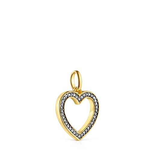 Dije Nocturne corazón de Plata Vermeil y Diamantes