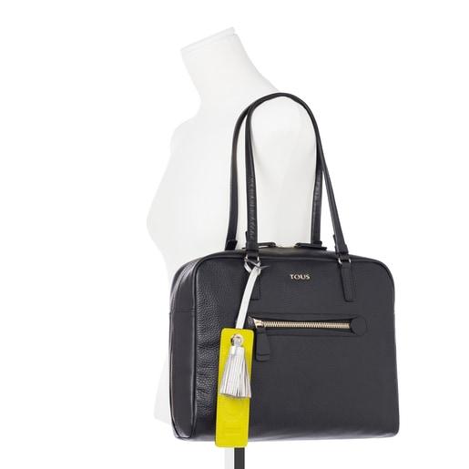 Black leather Bridgy city bag