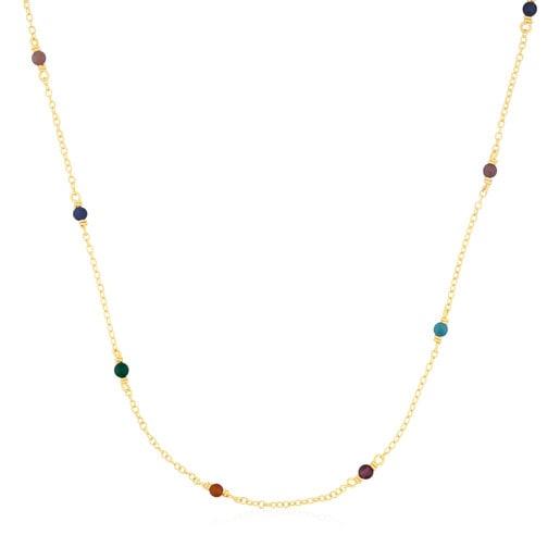 Halskette Super Power aus Vermeil-Silber mit Edelsteinen