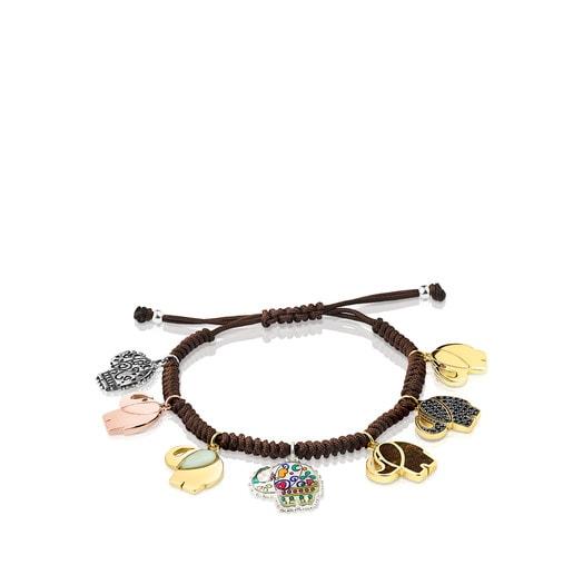 Pulsera de plata, plata vermeil, plata vermeil rosa, gemas y cordón marrón Mi Talisman