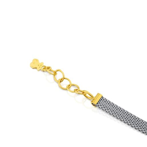 Halskette Icon Mesh aus Stahl und Gold