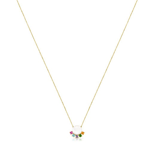 Gold Real Sisy Necklace with Pearl and Gemstones