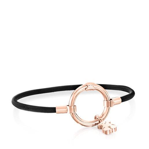 Rose Vermeil Silver and black IP Steel Hold Bracelet