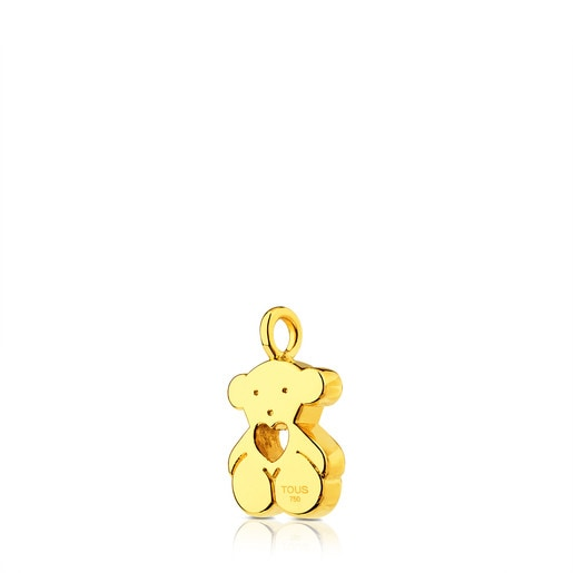 Gold Sweet Dolls Pendant medium size. Bear motif with heart hole