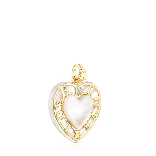 Dije corazón de oro y nácar San Valentín