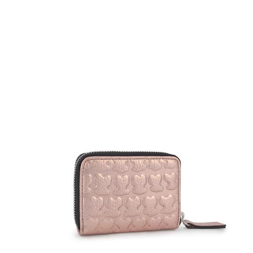 Μεσαίου μεγέθους Πορτοφολάκι Sherton από Δέρμα σε ροζ χρυσό χρώμα