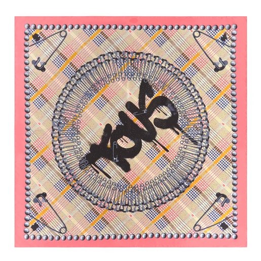 White and pink Tile Exene scarf
