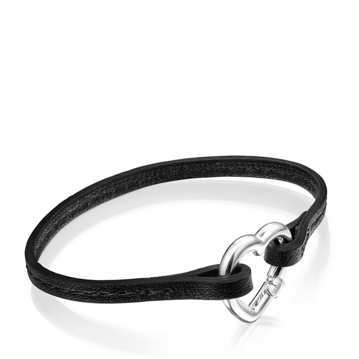 Hold heart Bracelet in Silver and black Leather