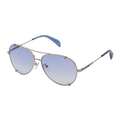 Óculos de sol Straight Gema em Metal na cor prata e azul