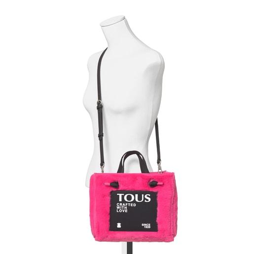 Mittelgroße Shopping-Tasche Amaya Fur in Fuchsia