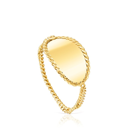 Gold Minne Ring with oval medal