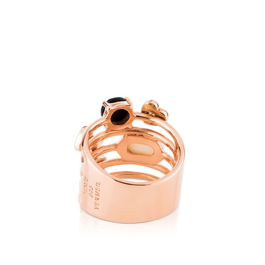 Rose Vermeil Silver TOUS Join Ring with Gemstones