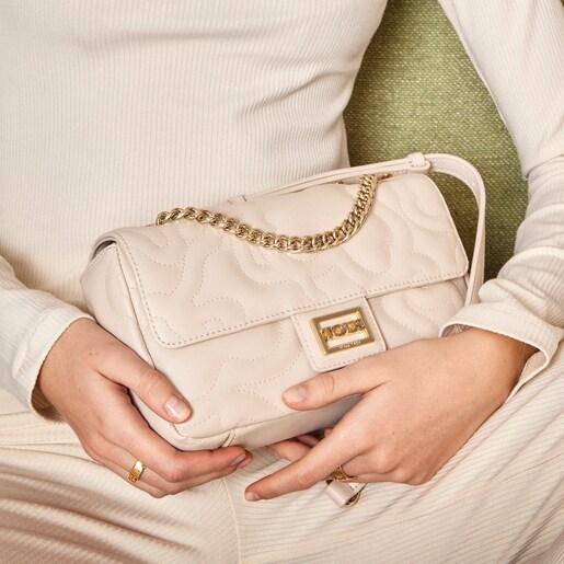 Small beige Kaos Dream Crossbody bag with flap