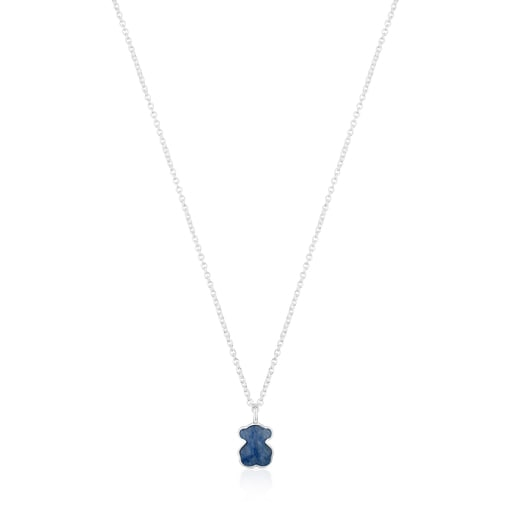 Collier New Color en argent avec quartz avec dumortierite