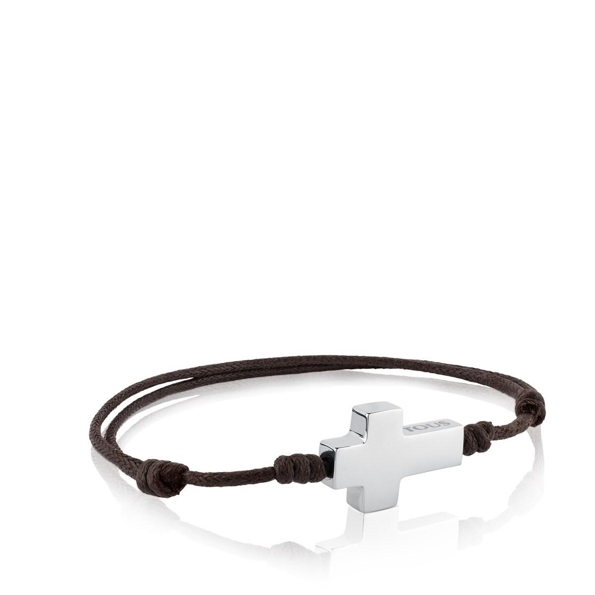 83f0d44ce14a Pulsera TOUS Cruz de Acero y Cordón en color marrón - Sitio web Tous ...