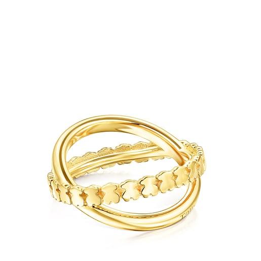 Δαχτυλίδι-σταυρός Straight από Ασήμι Vermeil