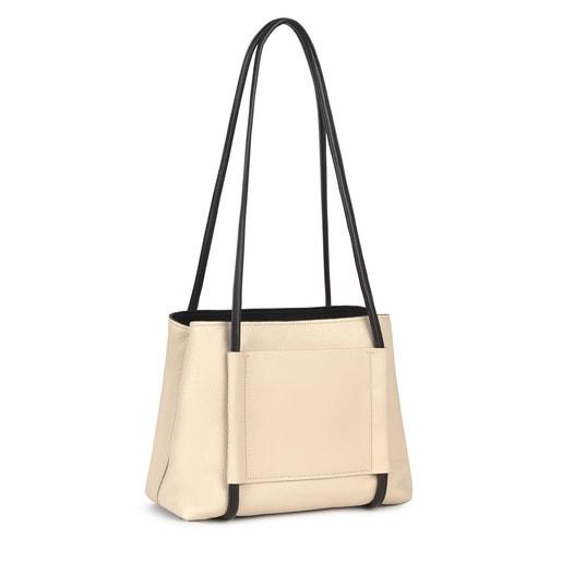 Large beige Leather TOUS Empire City bag