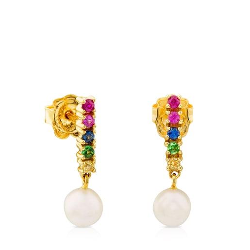Σκουλαρίκια Lio Gem από χρυσό με πολύτιμους λίθους και μαργαριτάρι