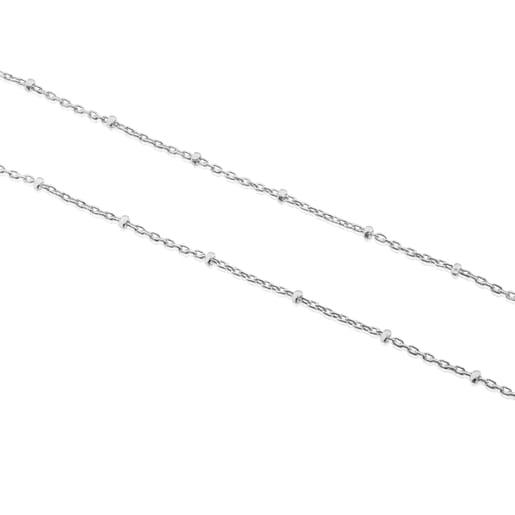 Τσόκερ TOUS Chain 45cm από Λευκόχρυσο με διάσπαρτες μπίλιες.