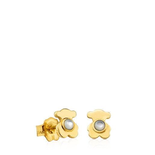 Gold Gem Power Earrings with Mother-of-pearl