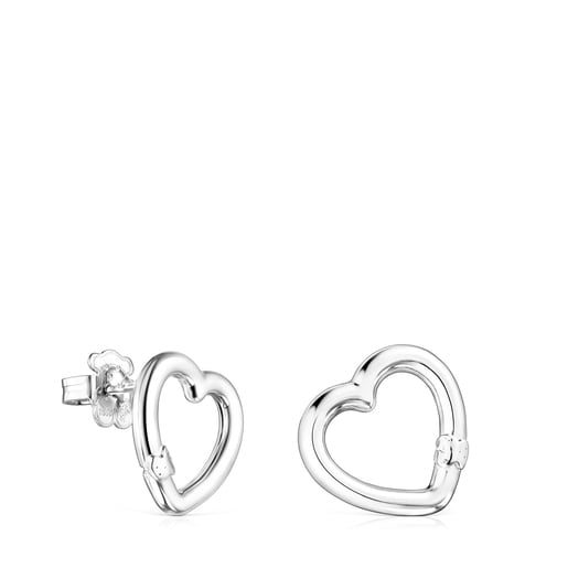Small Silver Hold heart Earrings