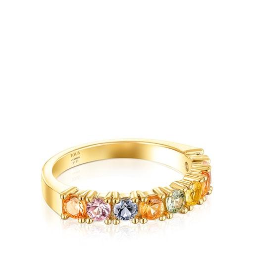 Βέρα Glaring από Ασήμι Vermeil με πολύχρωμα Ζαφείρια
