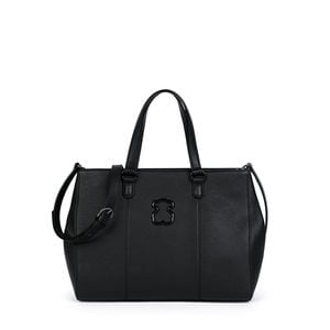 Black colored Leather Alfa City bag