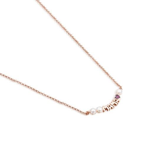 Collar TOUS Mama de Plata Vermeil rosa con Rubí y Perlas
