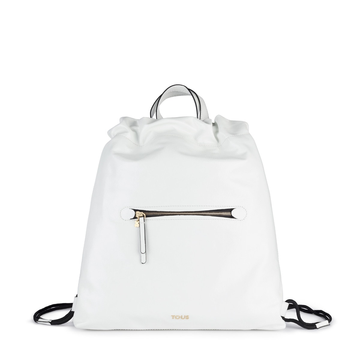 White Leather Tulia Crack Backpack