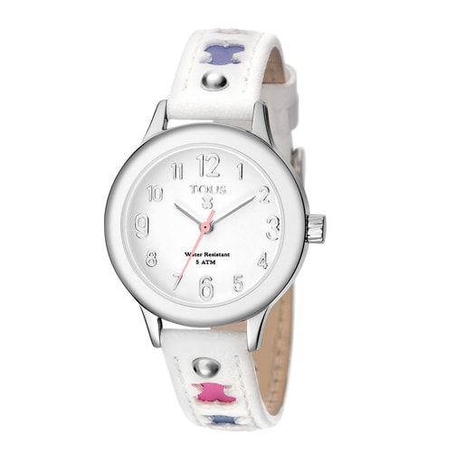 Steel Dolce Watch with white Leather strap