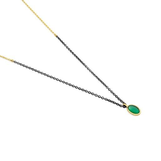 Colar Gem Power emOuro ePrata Oxidada com Ágata verde