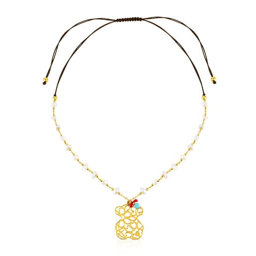 Vermeil Silver Bliss Necklace with Pearl and Turquoises