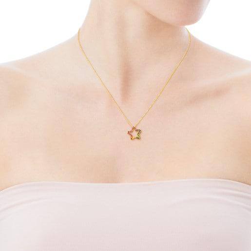 Collar Icon de Oro con Gemas multicolores motivo Estrella pequeño