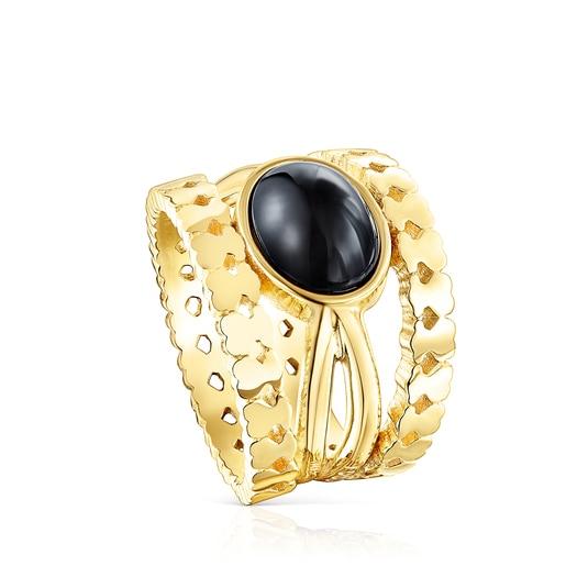 Δαχτυλίδι Straight από Ασήμι Vermeil με Όνυχα