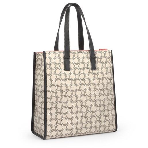 Μεγάλη Μπεζ Τσάντα για Ψώνια Amaya Logogram
