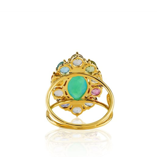 Gold Beach Ring with Gemstones