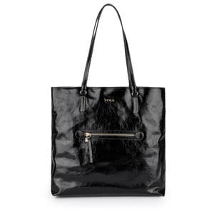 Large black Leather Tulia Crack Shopping bag